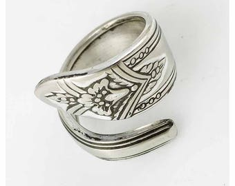 Repurposed Silverplate Spoon Ring- Deco Floral