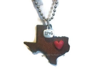 TEXAS  State Shape Necklace faux heart and tag love and heart made of rusty recycled metal