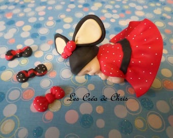 baby girl-themed polymer clay mouse.