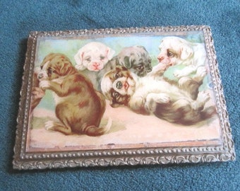 Antique Victorian Framed Print of Adorable Playing Puppies