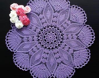 Purple Round Crochet Doily|Purple Round Lace Crochet Doily|Purple Lace Doily