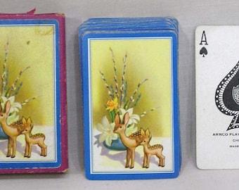 Vintage Deck Laurel Playing Cards in Case with Still Life Arrangement on Backs with Deer Figurines