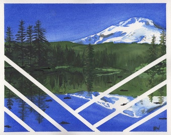 Blue Hood - Original contemporary watercolor by Kasey Wanford 8x10 matted,  Mt. Hood, lake reflection, mountain, pines, oregon