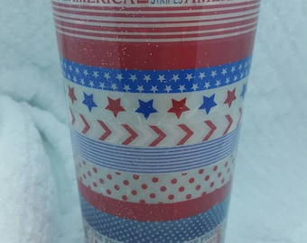 Custom patriotic red, white, and blue stainless tumbler