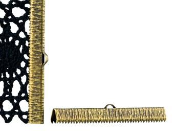 16 pieces  50mm  (2 inch) Antique Bronze Ribbon Clamp End Crimps - Artisan Series