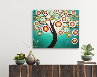 Turquoise Tree of Life Wall Art Original Modern Art Painting on Canvas, Living Room Decor