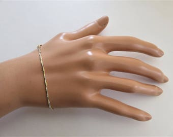 14K Solid Yellow White Gold Twisted Women Bracelet 7 Inches