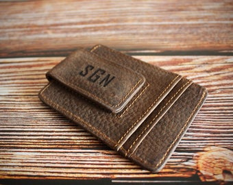 Engraved Leather Wallet, Personalized Money Clips,Wallet,Magnetic Front Pocket Money Clips,Slim Minimalist wallet,Gifts Mens,Money Clips
