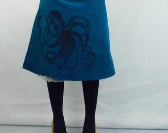 Teal Corduroy with Silk Screen Octopus Aline Cotton Skirt
