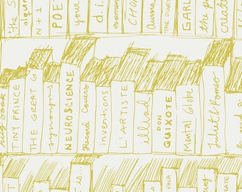 Library Book Fabric - Pastel Thrift by Pat Bravo for Art Gallery Fabrics - Bibliomania Candlelight- Fabric by the Half Yard