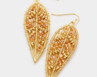Glass Bead Leaf Earrings - Gold/Topaz