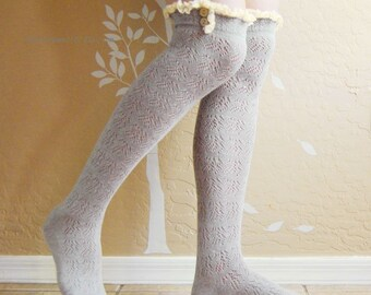 Christmas gift for her.Vintage style lace gray long socks, cute lacy boots socks.birthday Gift for her.Gray lacy socks for spring