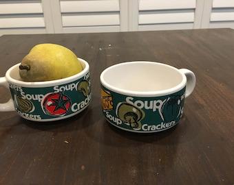 pair of soup cup mugs vintage funky design