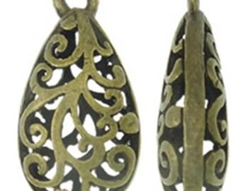 2pc 23X12mm antique bronze finish hollow Teardrop Shape pendant-7596B