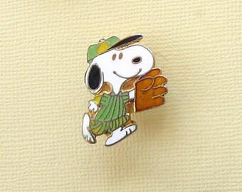 Vintage Snoopy Baseball with Green Uniform  Scatter Pin Lapel Pin Clutch Pin  Enamel Cloisonne 2043