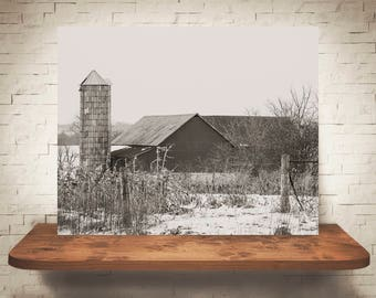 Barn Photograph - Fine Art Print - Black White Photography - Landscape Wall Art -  Farm Pictures - Farmhouse Decor - Winter - Country Decor