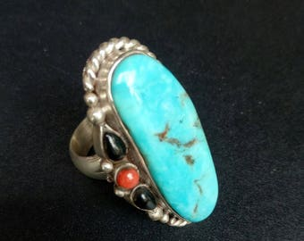 One of a kind handmade Sterling Silver Turquoise Red Coral and Black Coral Statement Ring - Bohemian Turquoise Statement Ring - Size 7.6