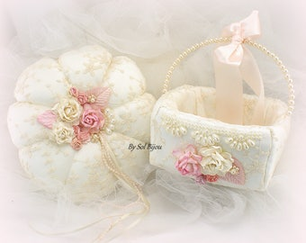 Wedding Ring Bearer Pillow Ivory Blush Pink with Lace and Pearls Vintage Elegant Style