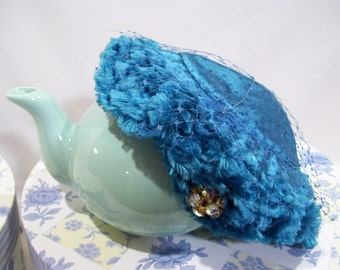 Junia Hat,Deep Turquoise Blue Skull Hat, Carson Pirie Scott