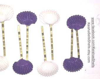 Purple Shell Bobby Pin set, Ocean Hair Accessory, Sea Bobby Pin, Gift for her, shell pin, Natural Shell, Sea shell, Nautical wedding, Beach