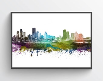 Montreal Skyline Poster, Montreal Cityscape, Montreal Print, Montreal Art, Montreal Decor, Home Decor, Gift Idea, CAQCMO01P