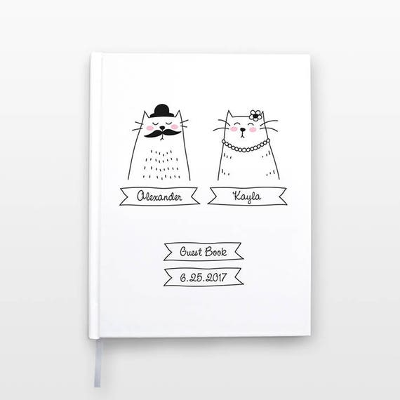Mr and Mrs Cat Wedding Guest Book, Unique Wedding Guestbook, Personalized Notebook, Cat Couple Journal, Hardcover Notebook, Cat Notebook
