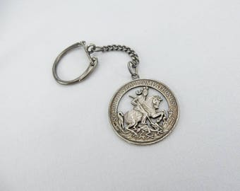 Massive Silver Religious Keychain Saint Georg ca. 1960's