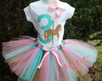 Horse Tutu Set, Horse Carousel Tutu Set, Birthday Girl Outfit, Pink Gold Aqua Tutu, Photography Prop