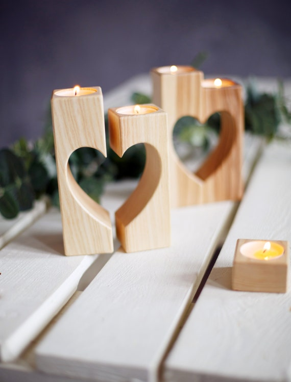 heart candle holders valentines day gift wooden candle holder
