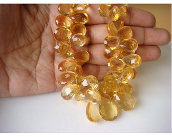 Citrine - Citrine Pear Shaped Faceted Briolettes, 7x9 -15x10mm Approx - Half Strand 4 Inches - 24 Piece