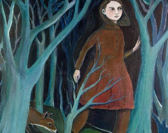 Art Print, Off the Path, Woods, Forest, Fox, Woman's Art, Wall Decor, Painting
