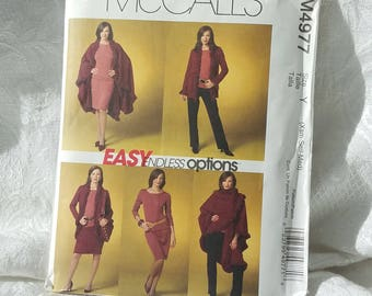 Easy McCalls Sewing Pattern M4977, Misses Petite Fringed Cape Pattern, Jacket, Top, skirt and Pants Size Y Xsm Sml Med 2005