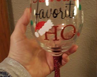 Santa's Favorite Ho Wine Glass