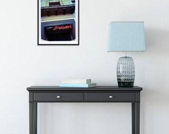 Modern Wall Art, Neon Sign, Polaroid Photo Print, Dorm Wall Art, Loft Art, Dresden, Art Deco Building, Spokane Washington Art Photography