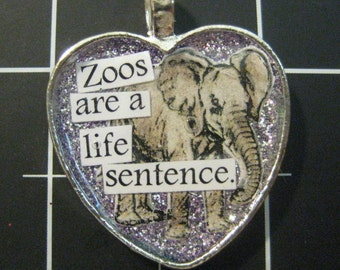 """100% Donation Item: Elephant Pendant, """"Zoos are a Life Sentence"""", ALL proceeds go to the current selected animal charity"""