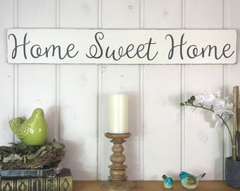 "Home sweet home sign | rustic wood sign | rustic wall decor | housewarming gift | 36"" x 5.25"""