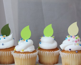 Spring Green Petal Leaf Candle Flame Shower or Birthday Party Cupcake Toppers
