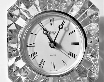 """Vintage Mikasa Austrian Crystal, West Germany Westminster Clock 3.5 x 3.5"""", Works Perfectly, Free Stand or Angled"""