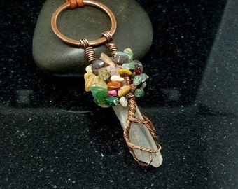 Wire Wrapped Quartz Crystal Tree of Life Bonsai Pendant with Suede Cord