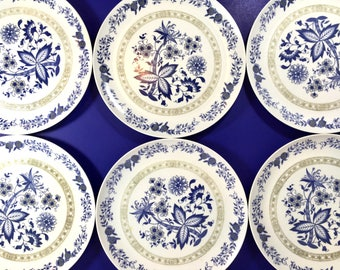 Vintage Melmac Plates Set of Six Floral Blue Tan Bohemian Dinner Ware Mar Crest Sun Valley  sc 1 st  Etsy & Melmac | Etsy