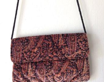Vintage VELVET Bag • 1990s Accessories • Paisley Print Velvet Velour Handbag • Purple Violet Plum Shoulder Purse •1980s Convertible Clutch