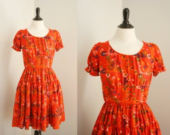 vintage square dance dress | 1970s print dress