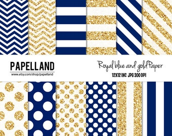 Royal Blue and Gold Digital Paper Pack for scrapbooking, Making Cards, Tags, Invitations, party decor, backgrounds Instant download