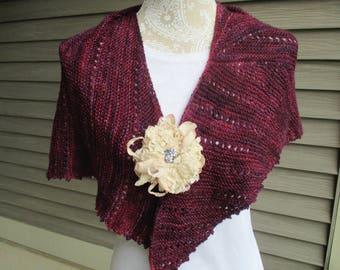 Women's hand knit shawl, asymmetrical shawl, spring summer shawl, pashmina shawl, pashmina wrap, stole, in shades of wine. Summer wrap.