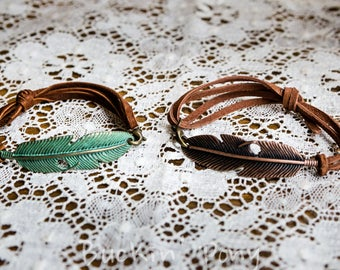 Metal Feather and Adjustable Leather Bracelet Western/Boho/Gypsy silver,bronze,antique green