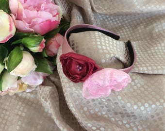 headband with pink and Burgundy fabric flowers