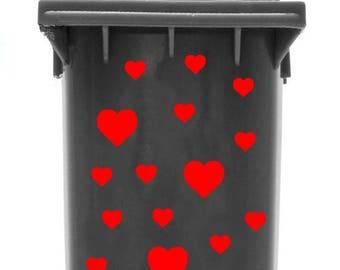 Bin Sticker 'Hearts' (font colour: silver)