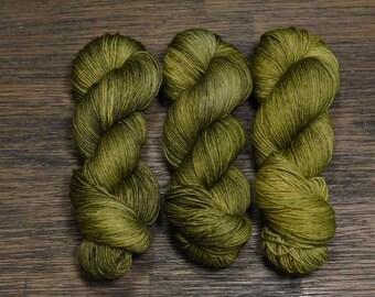 Hand Dyed Yarn - 'Laurel -' Superwash Merino Nylon Fingering Sock Yarn green yellow 420 yards