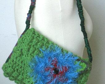 Crocheted Handbag with Flower