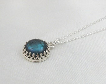 Sterling Silver Crown Edge Natural Labradorite Pendant Necklace. Holiday Gift For Her.Mothers Day Gift.